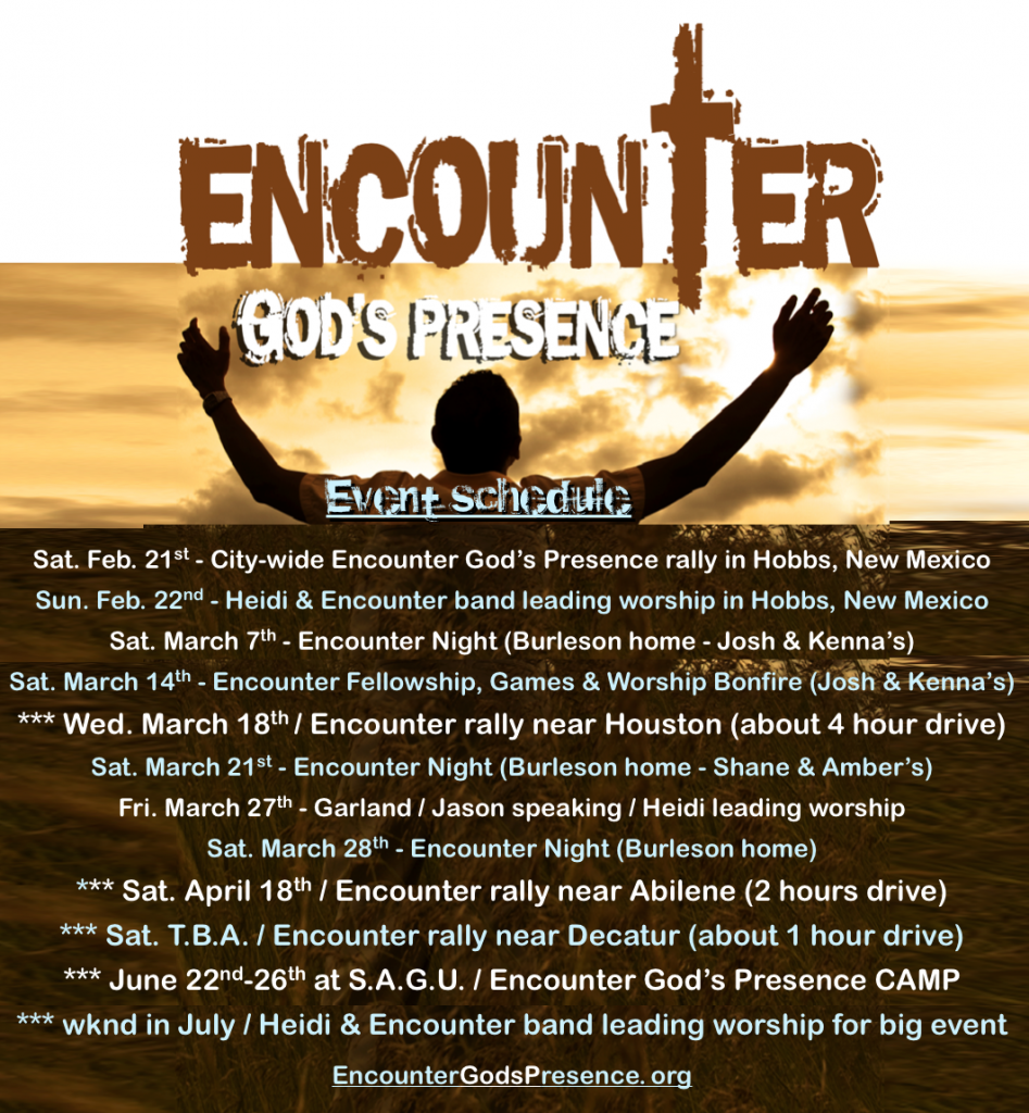 Encounter event schedule Feb. 2015 !!!